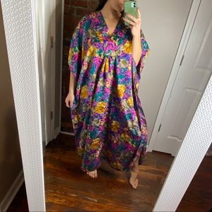 Vintage floral print night gown OS